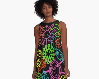 Groovy Microbes A-Line Swing Dress Trapeze Dress  XS S M L XL 2XL Microbiology Science Bacteria Virus Woman Teen Wearable Art Clothing