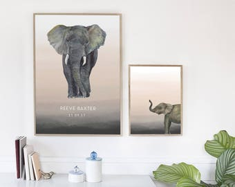 Custom Name Print // Elephant Safari Name Art // Boys Wall Art //  Boys Nursery Print // Elephant Print // Nursery Decor // Baby Boy Art