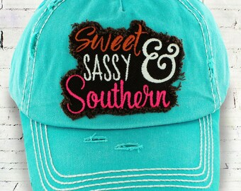 sweet sassy and southern hat, teal hat
