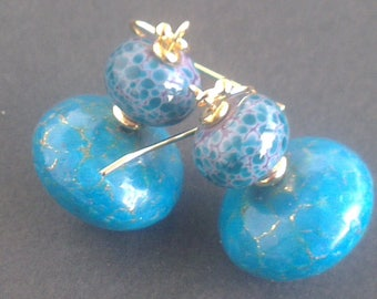 Duo of turquoise - gemstone and Lampwork Glass Bead