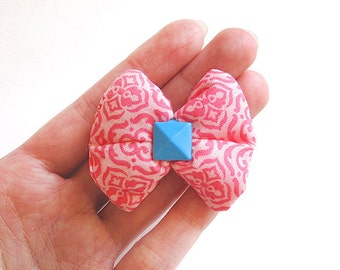 Hot Pink Damask Puffy Bow Hair Clip