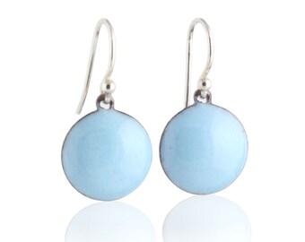 Blue Dot Enamel Earrings