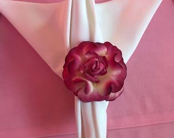 Paper flower napkin rings (set of 4) burgandy