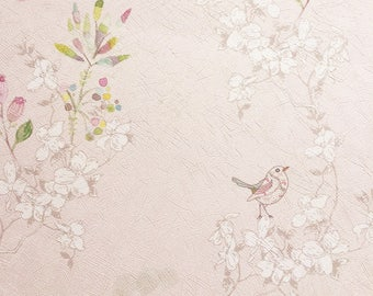 Bird Print Wallpaper, Birds Wallpaper, Japanese Wallpaper, Nursery Wall Decor, Pink Nursery Wallpaper, Floral Wallpaper, Textured Wallpaper