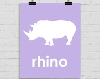 Rhino Art Print, Rhinoceros Wall Art Nursery Art, Rhino Playroom Art, Childrens Art, Rhinoceros Wall Print, Rhino Printable Art