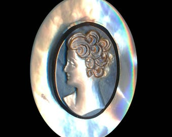 Button--Early 20th C. Compound Pearl Cameo Head--Medium