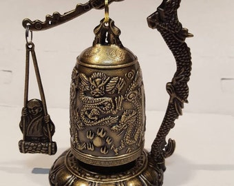 Brass dragon gong for good luck - Chinese dragon bell for feng shui