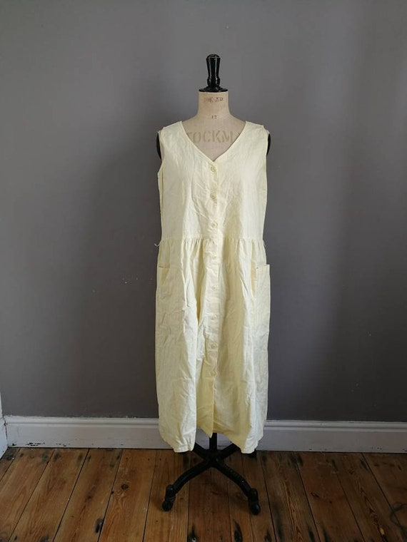 Pale yellow 80s cotton dress / vintage yellow sun dress / yellow cotton pinafore dress / button up  midi / primrose yellow dress / 80s mum