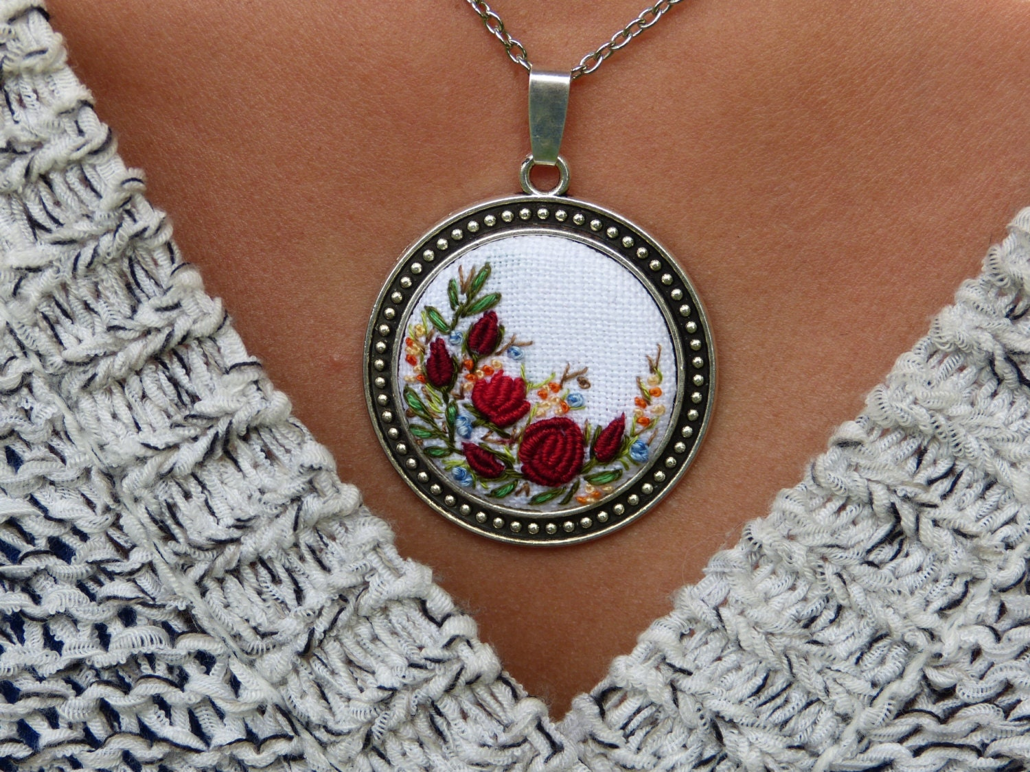 Floral embroidered necklace pendant silver tone needlework zoom aloadofball Gallery