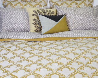 Duvet Cover, Yellow bedding, Cotton Sateen Bed cover, Duvet, Block Printed, Handmade, For the home, housewarming gift, Bed Linens - DIYA