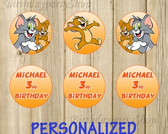 Tom and Jerry Cupcake Toppers, Tom and Jerry Birthday Circles, Personalized , Digital File