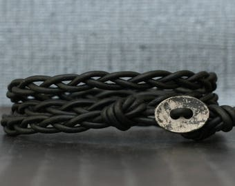 black leather wrap bracelet - braided with distressed silver button - bohemian jewelry - casual jewelry - simple jewelry