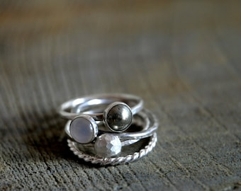 Set of FOUR Stacking Rings - Sterling Silver, Moonstone, Pyrite and rope ring - Made To Order