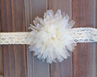 Ivory Fluffy Lace Headband Flower Girl Flowergirl Bridesmaid Baby shower gift Toddler Photo Prop First Birthday Smash Cake
