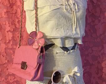 Egg Shell White ViNtaGe SHaBBY CHiC SKiRT White Eyelet / Tube Top Vintage Beach Skirt Women's Skirt White Cotton  ShaBBy Chic Wedding