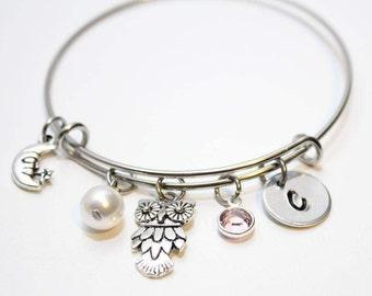Charmed Memories Owl Bangle Bracelet Sterling Silver btlrC7xdC