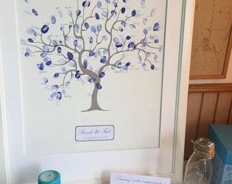 Blue and white fingerprint tree