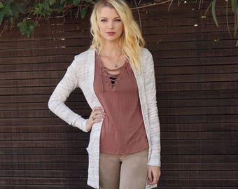Pima Emmalyn Cardigan - Ladies Stretch Cardigan - Women's Size S - Pocket Cardigan - Boho Cardigan - Soft Knit Stretch - Boutique Sweater