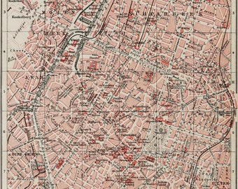 1897 antique city map of brussels belgium bruxelles 121 years old chart