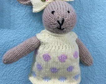 Handknitted Girl Bunny Rabbit In Yelloe Dotted Dress
