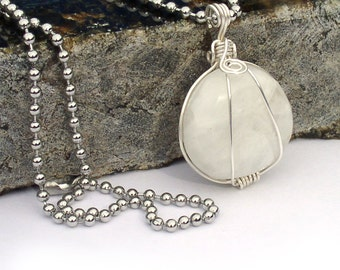 Rainbow Moonstone Round Wire Wrapped Pendant