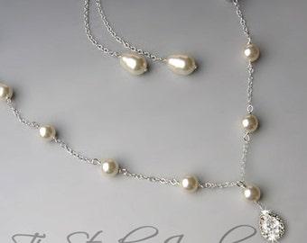 Back drop Lariat Style Swarovski Teardrop Pearl Bridal Necklace - CHARLOTTE