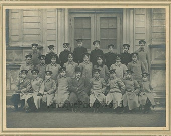 Russian military school young cadets with instructor antique 1911 photo Russia