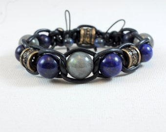 labradorite and lapis lazuli - top quality leather black bracelet