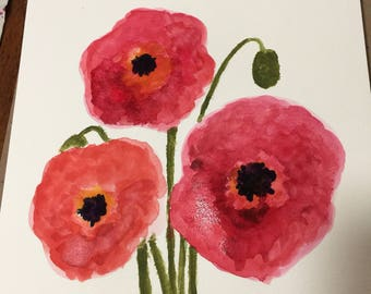 Original watercolour poppies