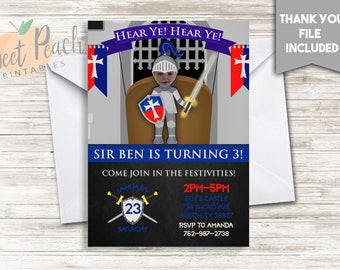 Knight Photo Birthday Invite 5x7 Digital Personalized Picture Boy's Knight Birthday, Swords, Shield, Castle, Hear Ye Hear Ye, Armor, #93.0