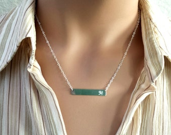Silver Bar Initial Necklace, Sterling silver Pesonalized Jewelry, Bridesmaid jewelry, Bar Initial, strand, chokers,Statement Necklace