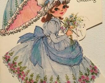 Vintage Birthday Card, NOS, Unused, Girl with Parasol