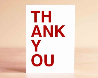 Modern Thank You Card - Blank Thank You Card - Friend Thank You Card - THANK YOU