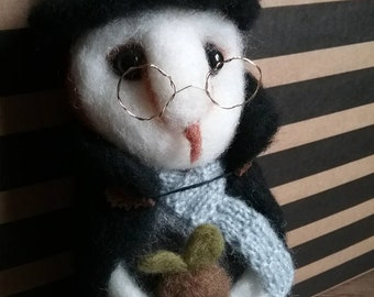 Needle felted Witch Owl Doll with baby mandrake root
