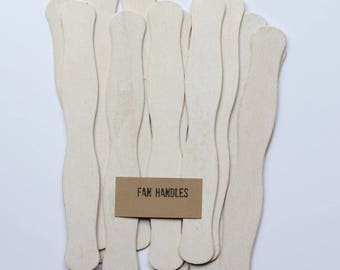 75 Wedding Program Fan Sticks - White Wash Fan Handles - Wavy Ceremony Fan Handles - Wooden Fan Sticks