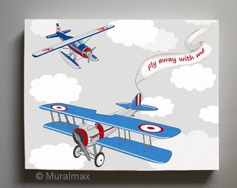 Fly Away Vintage Airplane Canvas wall art   - Airplane Canvas Art,  Boys Room Decor , Canvas Reproduction