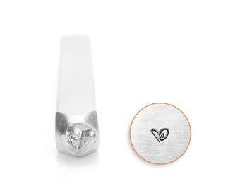Boogie Heart Metal Design Stamp 3mm - ImpressArt - Stylized Heart with Swirl