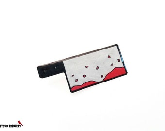 Butcher knife brooch, cleaver brooch, edgy jewelry