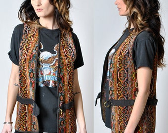 1960's vintage carpet hippie vest with belt  original                         H14