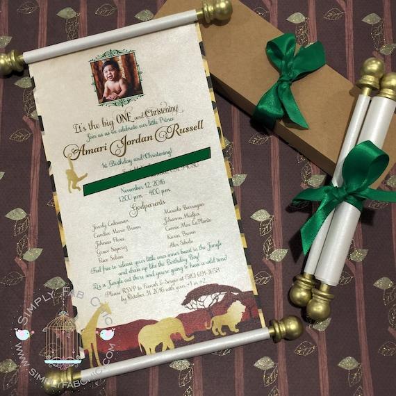 Safari Scroll Invitation Birthday Wedding Invitation Handmade