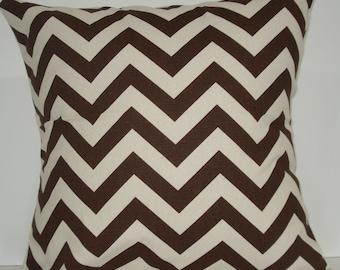 New 18x18 inch Designer Handmade Pillow Case. brown and natural chrvron zig zag pattern.