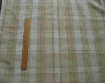 "4 Yards- 54"" Wide MOIRE Fabric-Plaid-TANS & WHITE-Dry Clean-Drapes-Valances-Pillows"
