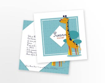 Invitation baby girl or boy, mixed - to personalize - Swann giraffe pattern