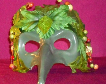 Green Man Masquerade Mask with Acorns. Bring the beauty of the nature spirits to any celebration, festival, masquerade or themed event.