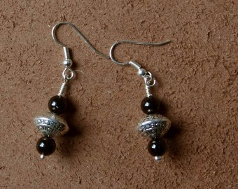 """Black onyx and Tibetan bead, from the collection """"Distant Asia"""", mounted on clips, hooks or Leverback Earrings"""