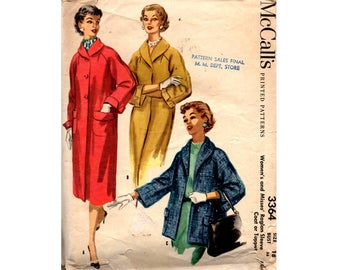McCall's 3364 Womens 50s Raglan Sleeve Coat or Topper Vintage Sewing Pattern Size 18 Bust 36 inches UNCUT Factory Folded