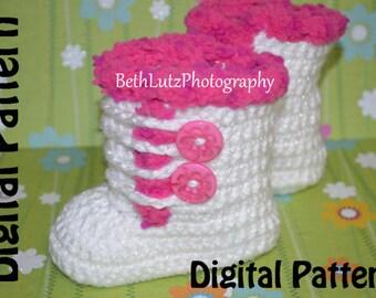 0-3 months Crochet Pattern, Crochet Baby Boots, Booties Pattern, Crochet Booties Pattern, Crochet Baby Booties, Digital Item.