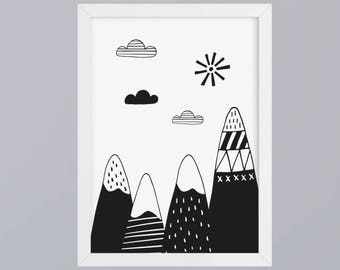 Mountains & Clouds SW-art print without frame