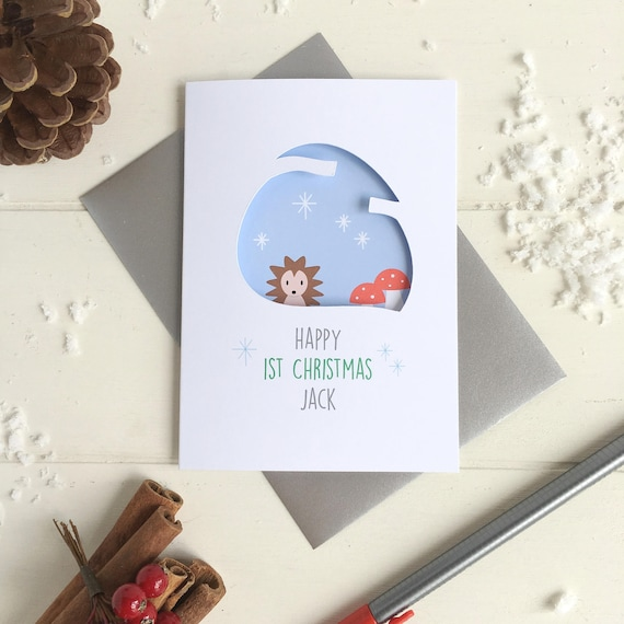 baby's first Christmas Hedgehog card - Personalised card - 1st Christmas card