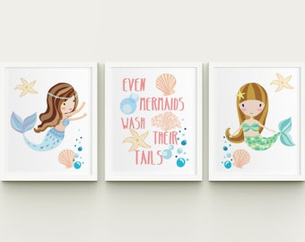Mermaids printable girl bathroom or nursery wall art set,  even mermaids wash their tail girl bathroom decor, starfish art download